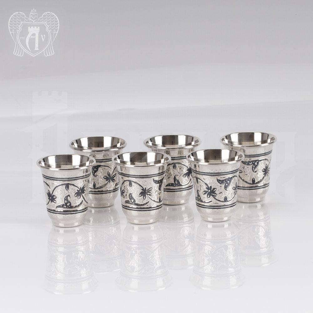 Набор серебряных стопок «Веточка»  6 шт Апанде, 111003133