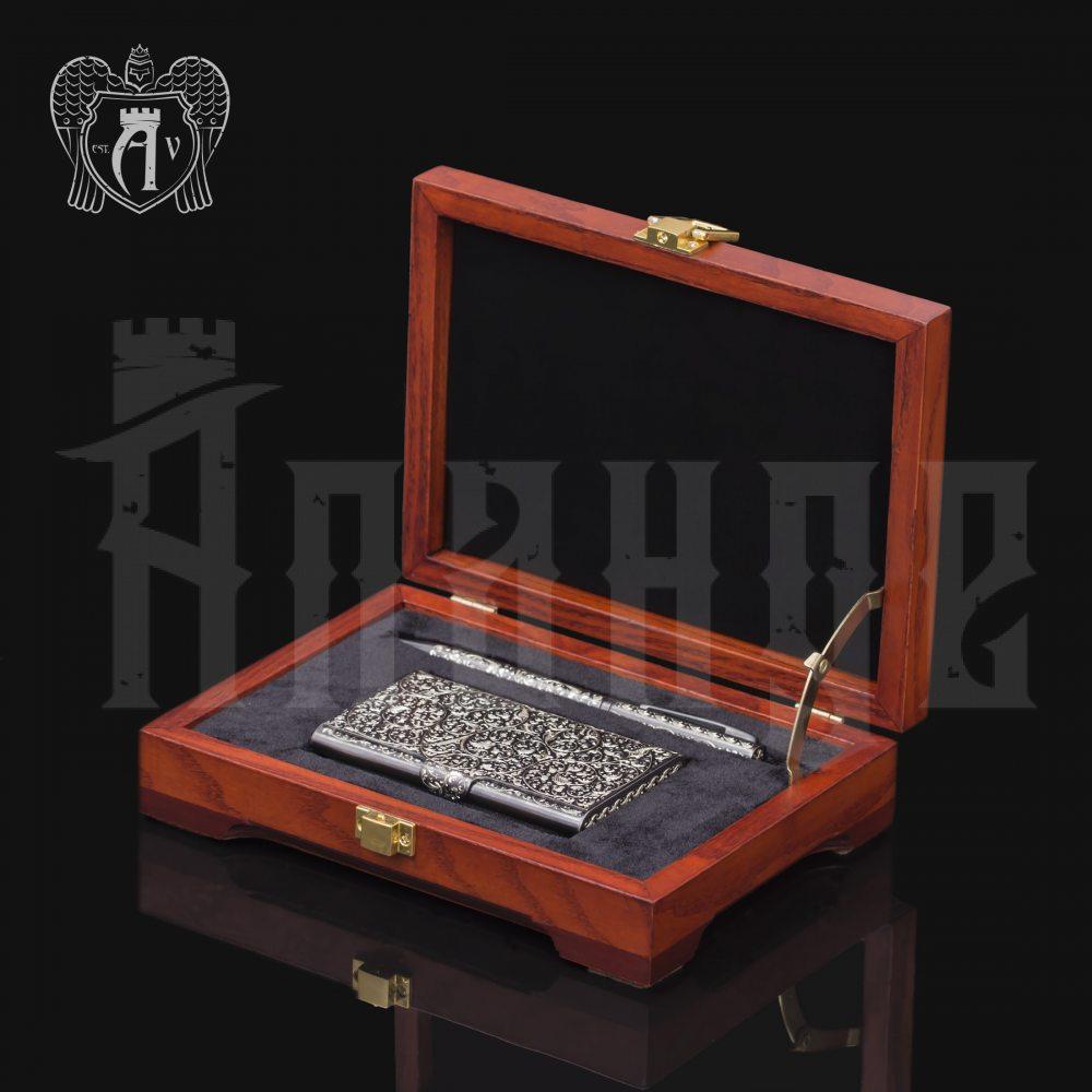 Визитница серебряная и ручка «Excelsior» Апанде, 111003212