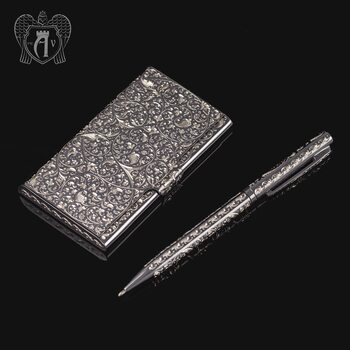 Визитница серебряная и ручка «Excelsior»