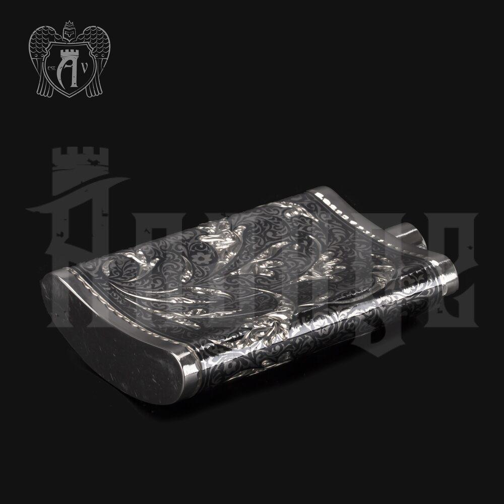Серебряная фляжка маленькая «Ворон»  Апанде, 72000193