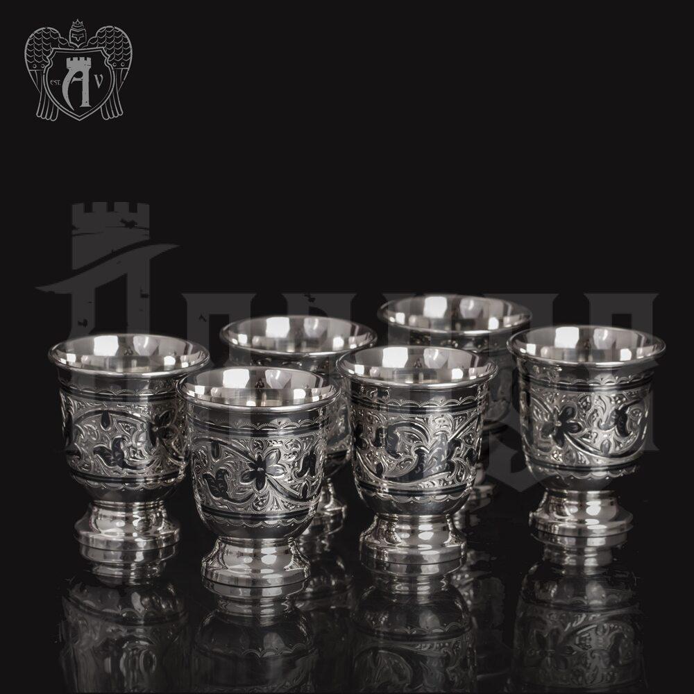 Набор серебряных стопок «Вечное сияние» 6 шт Апанде, 111003134