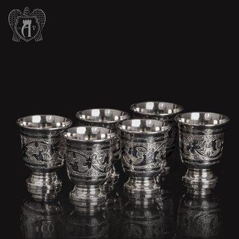 Набор серебряных стопок «Вечное сияние» 6 шт