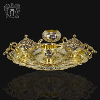 Серебряный сервиз чайный «Королевский» 16  предметов