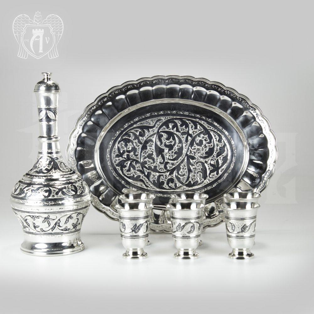 Водочный сервиз серебряный «Барин» Апанде, 11100543