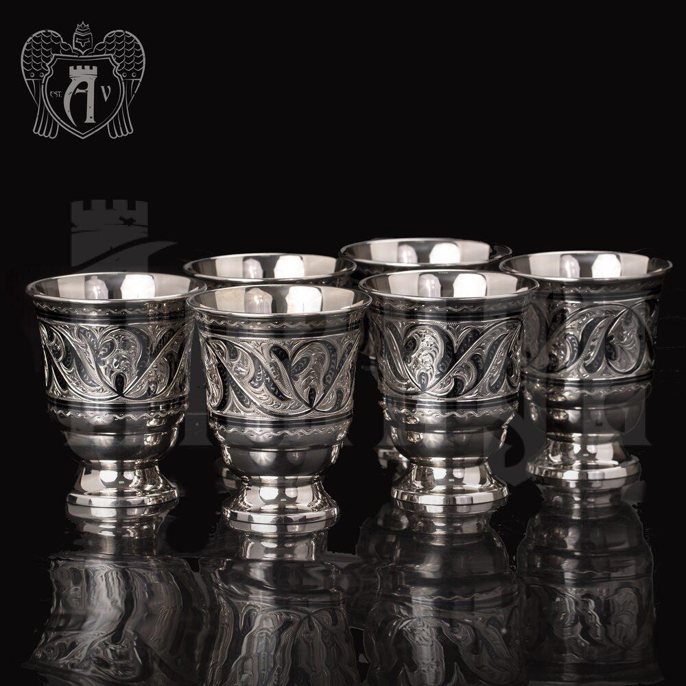 Набор серебряных стаканов «Виноградная лоза» Апанде, 71000430