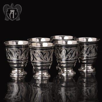 Набор серебряных стаканов «Виноградная лоза»