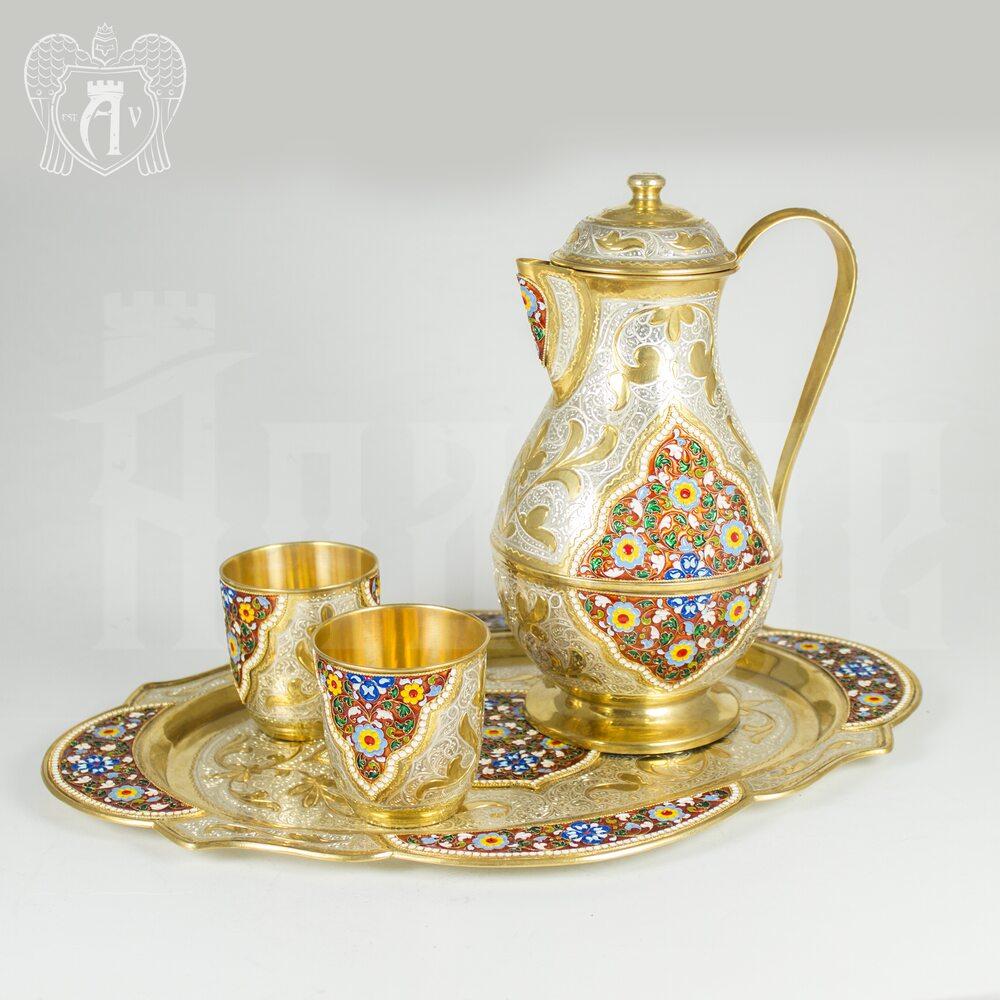 Серебряный сервиз «Торжество» с позолотой и эмалью Апанде,  11100058