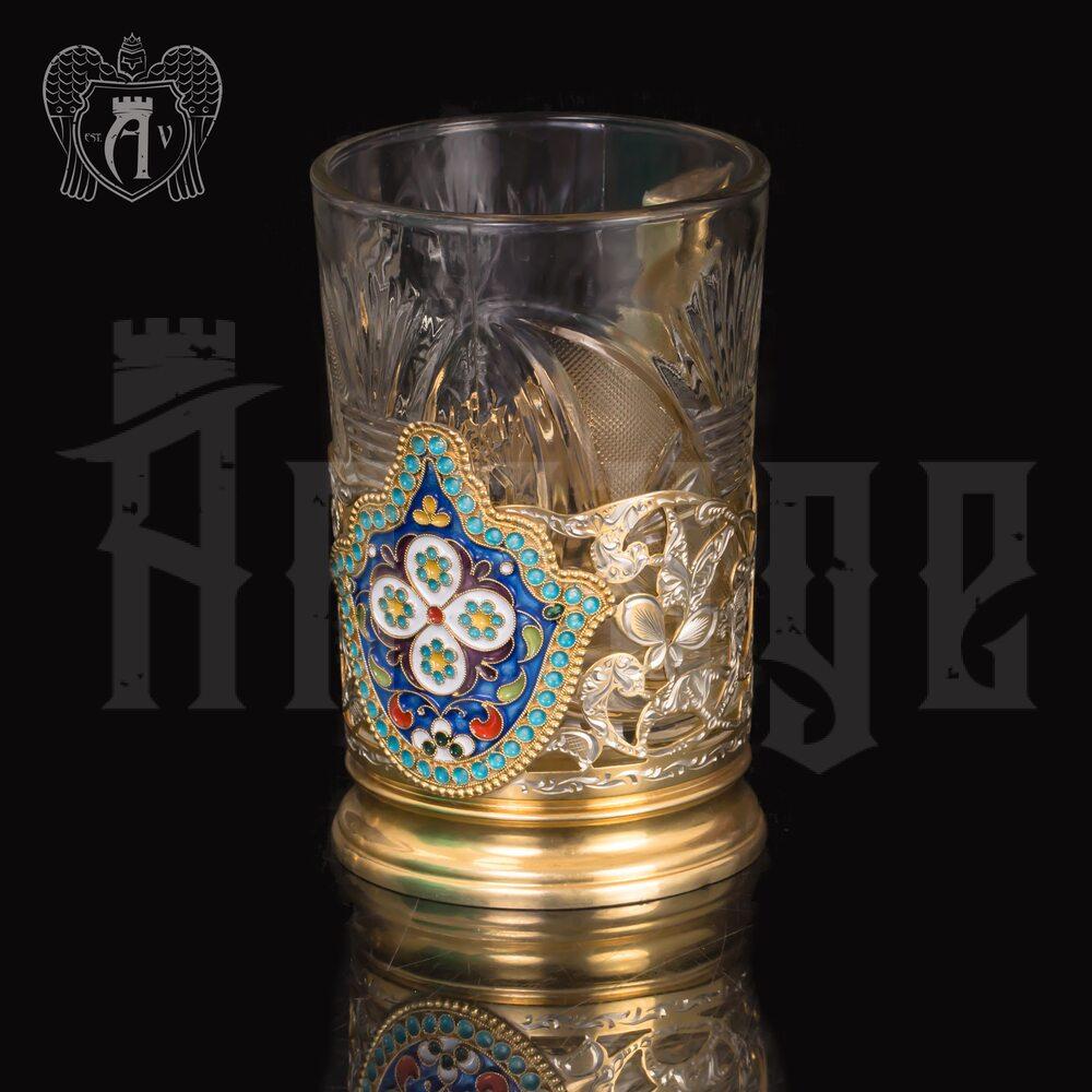 Серебряный подстаканник «Отечество» с позолотой Апанде, 880015
