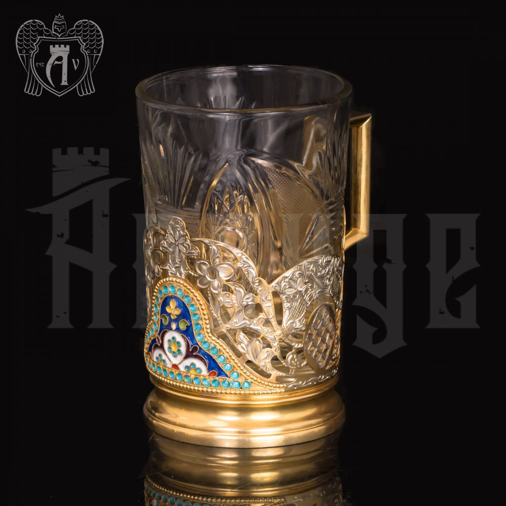 Серебряный подстаканник «Ажурный» с позолотой Апанде, 880016