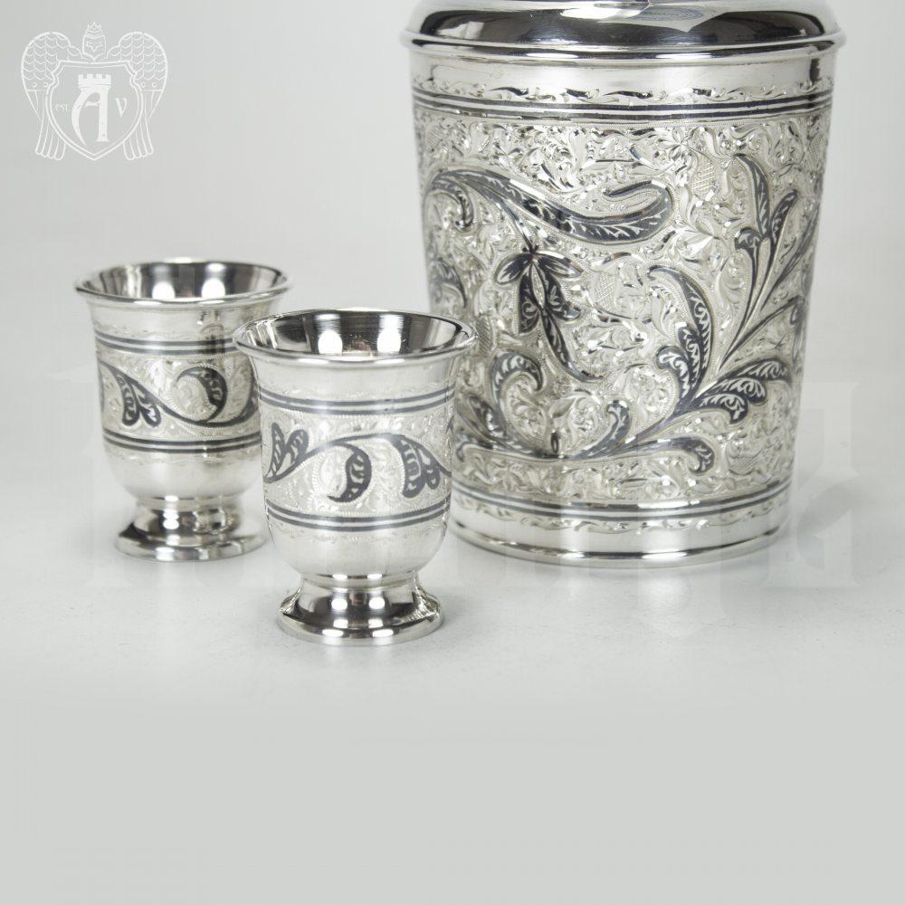 Серебряный водочный набор «Трио» Апанде, 11100590