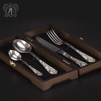 Столовый набор из серебра 925 пробы «Виноградная лоза» 4 предмета без черни