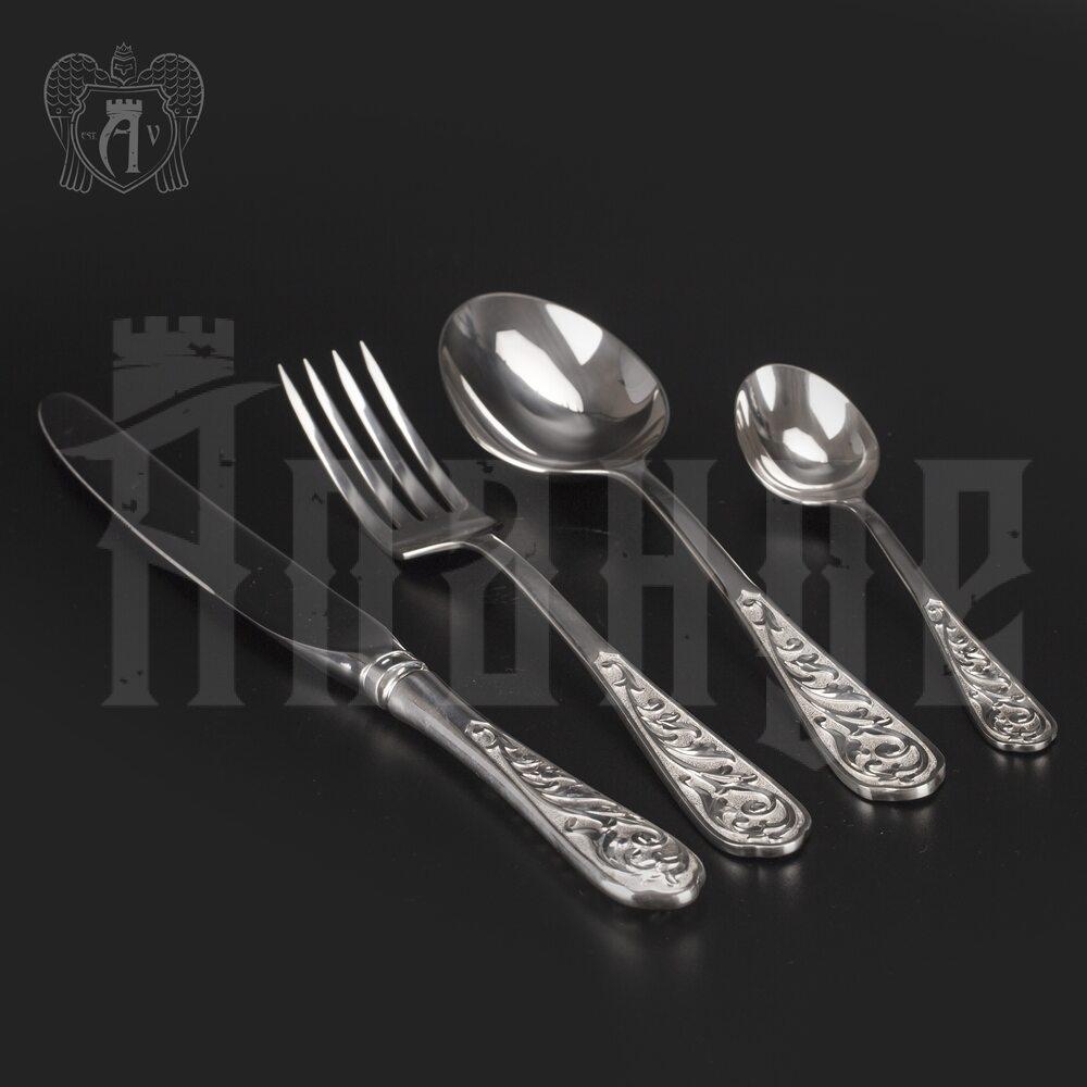 Столовый набор из серебра 925 пробы «Виноградная лоза» 4 предмета без черни Апанде, 220005