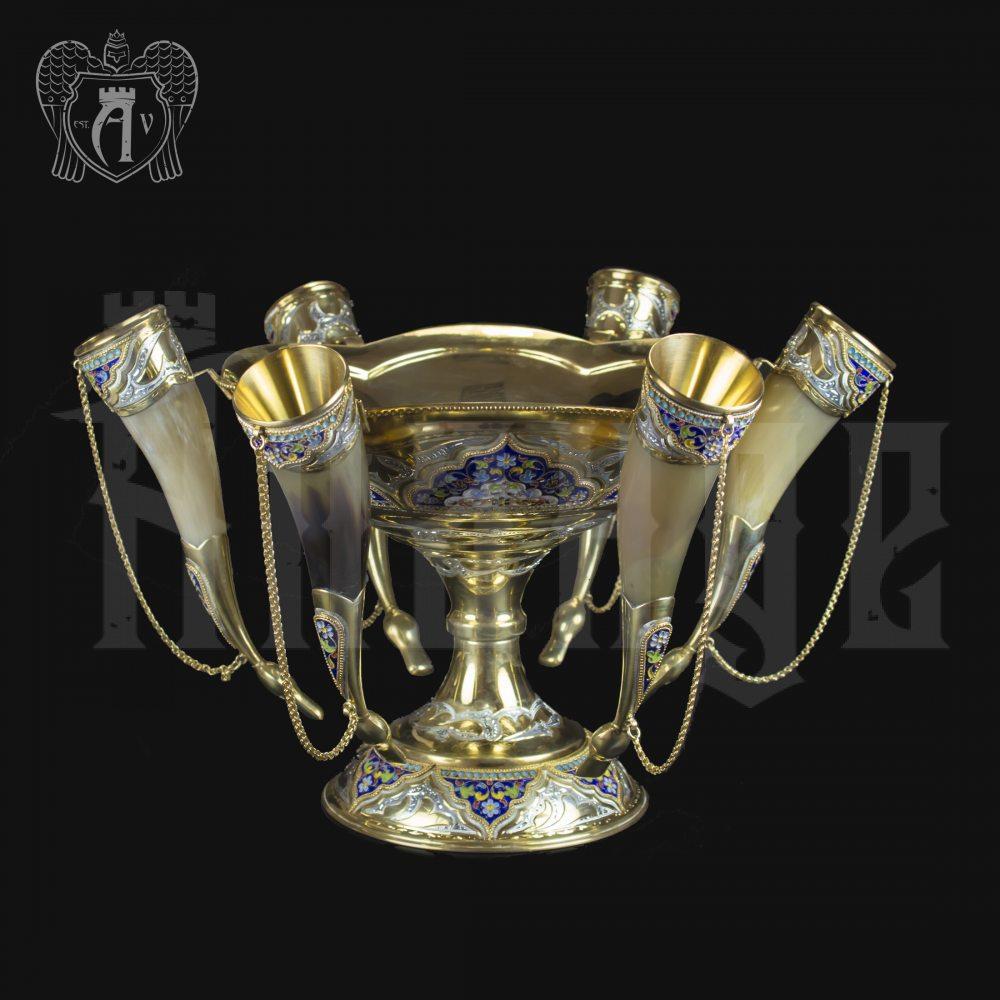 Серебряный набор для вина «Люкс» с позолотой и эмалью Апанде, 11100415