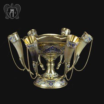 Серебряный набор для вина «Люкс» с позолотой и эмалью