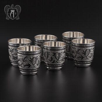 Набор серебряных стаканов «Виноград»