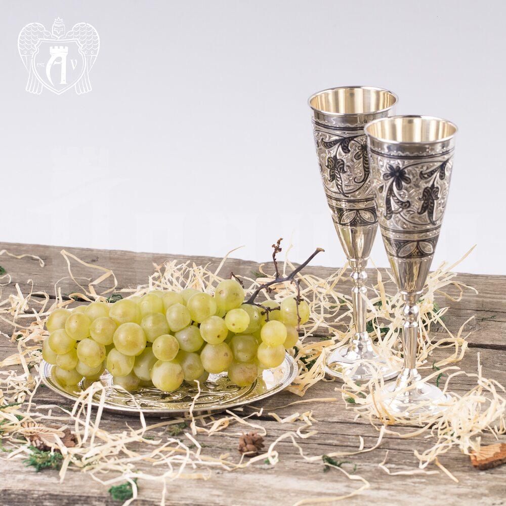 Серебряные фужеры «Экзотика» набор 6 шт Апанде, 3800401-6