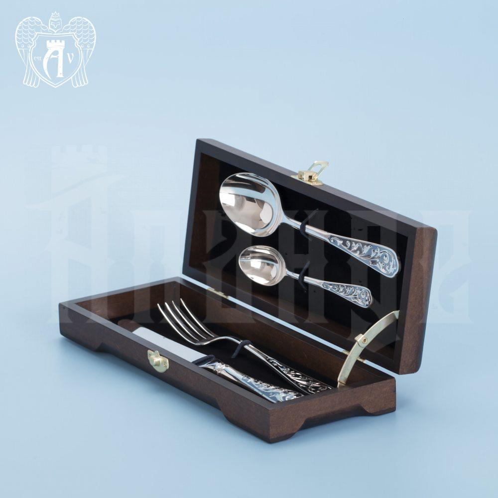 Столовый набор из серебра «Виноградная лоза» 4 предмета Апанде, 220006