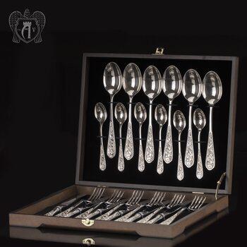 Столовый набор из серебра 925 «Виноградная лоза» 24 предмета без черни