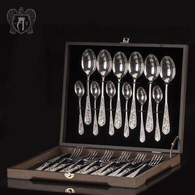 """Продукт Столовый набор из серебра 925 """"Виноградная лоза"""" 24 предмета без черни"""
