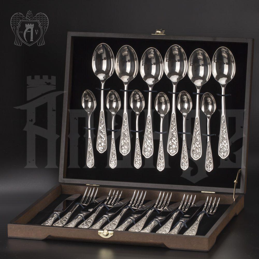 Столовый набор из серебра 925 «Виноградная лоза» 24 предмета без черни Апанде, 22000213-24