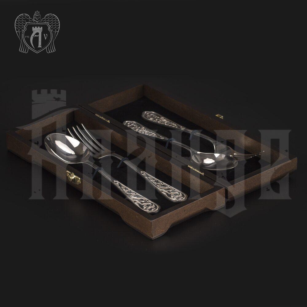 Столовый набор из серебра 925 пробы 2 персоны «Виноградная лоза» 4 предмета без черни Апанде, 11100022933