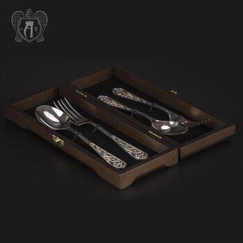 Столовый набор из серебра 925 пробы 2 персоны «Виноградная лоза» 4 предмета без черни