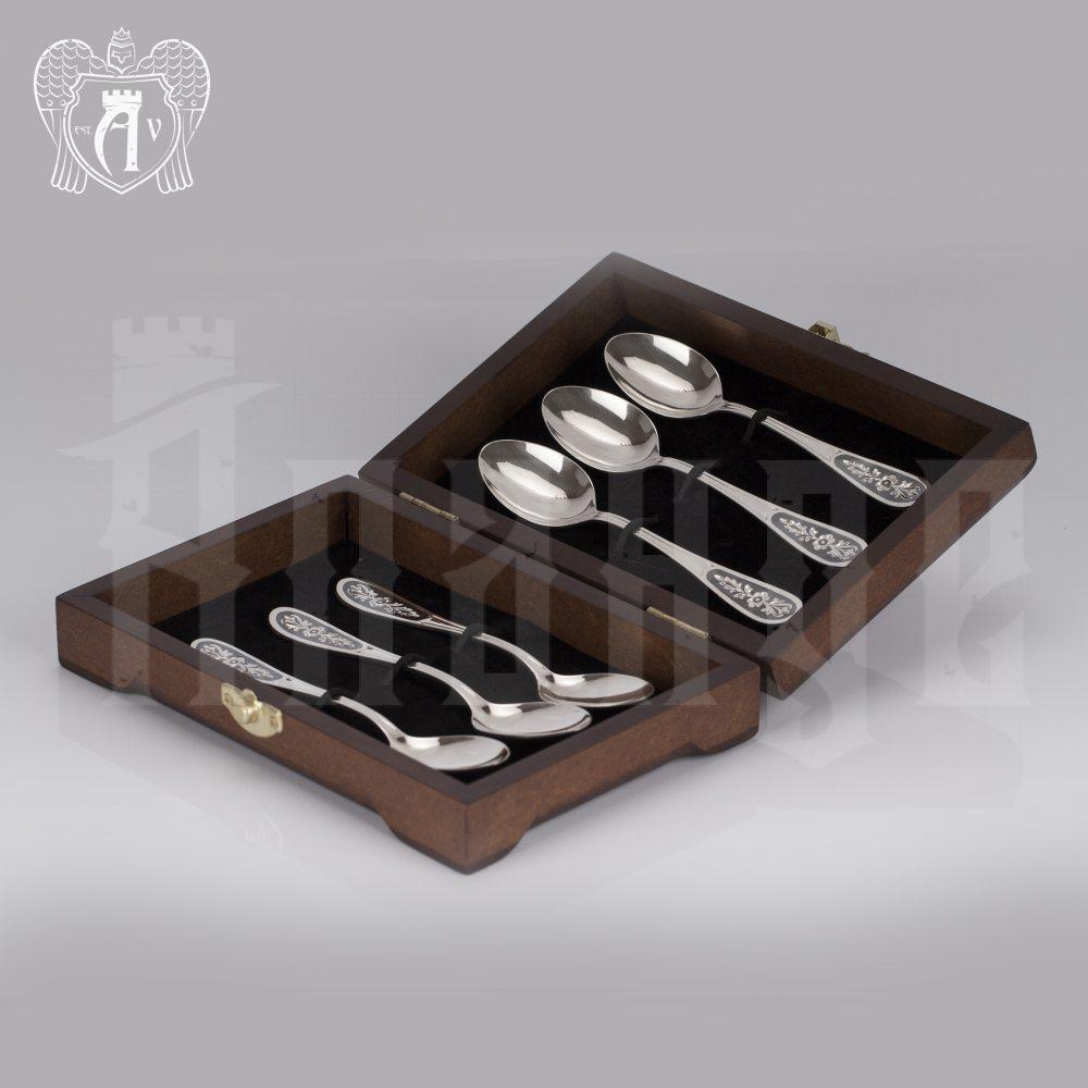 Серебряные чайные ложки  «Цветок» комплект 6 шт Апанде, 24000210-8