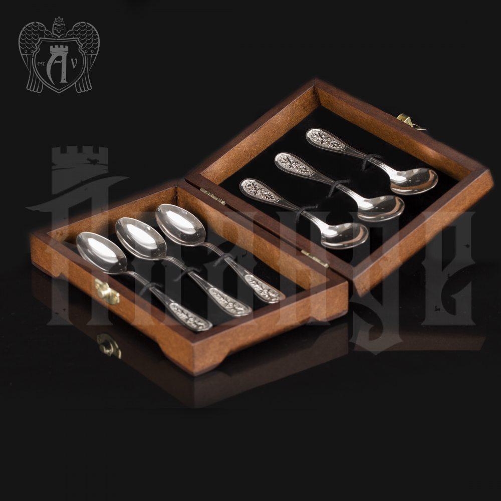 Чайные ложки из серебра  «Цветок» комплект 6 шт без черни Апанде, 24000210-10