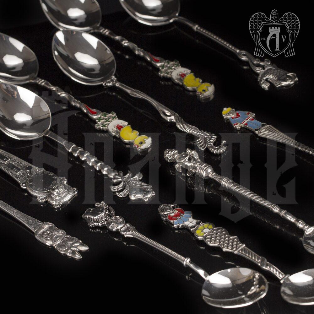 Серебряная чайная ложка  «Бегемот» Апанде, 230001238