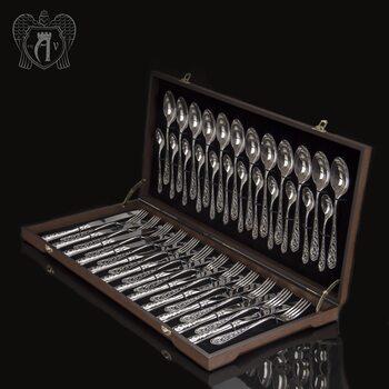 Набор столового серебра на 12 персон «Виноградная лоза» 48 предметов без черни