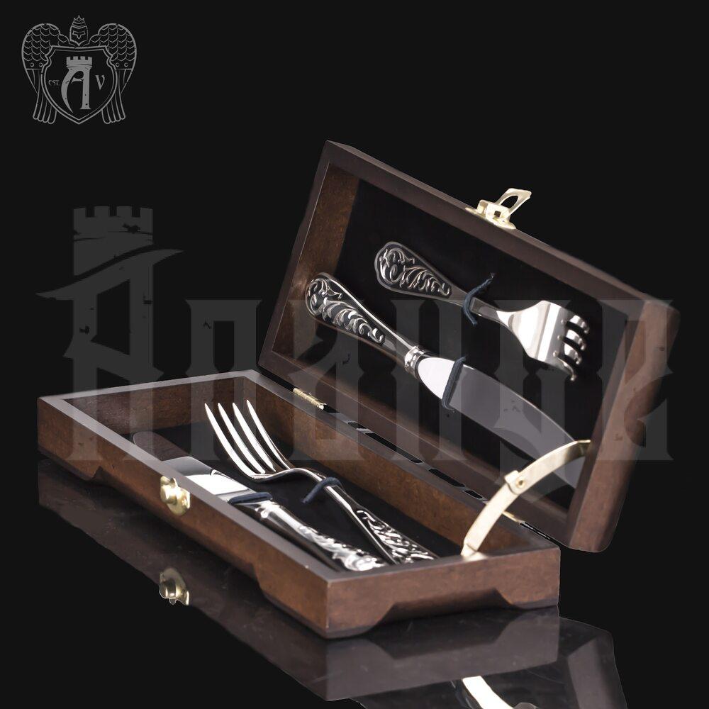 Набор из серебра 925 пробы ножи и вилки на 2 персоны «Виноградная лоза» 4 предмета Апанде, 1110002294