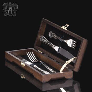 Набор из серебра 925 пробы ножи и вилки на 2 персоны «Виноградная лоза» 4 предмета