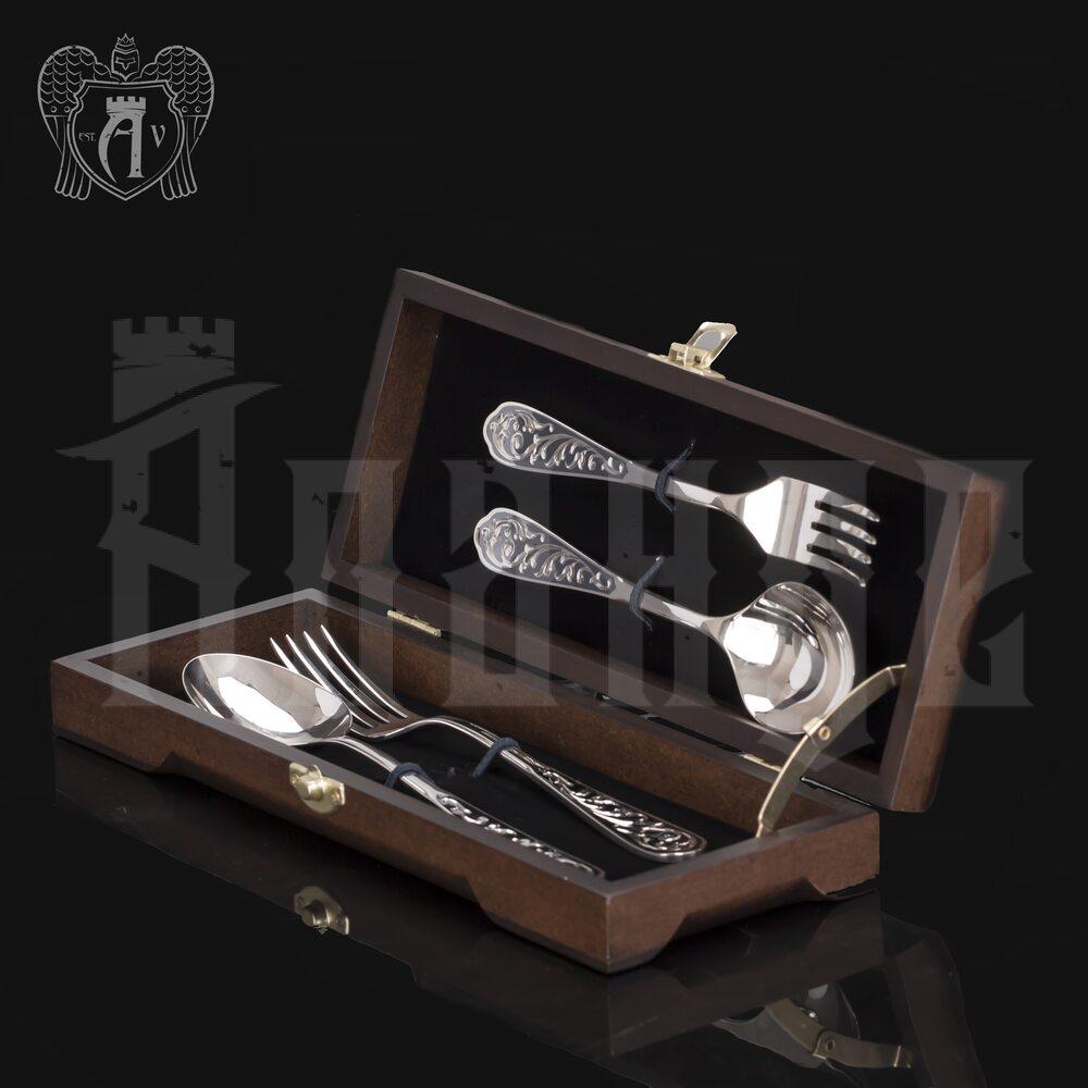 Столовый набор из серебра 925 пробы 2 персоны «Виноградная лоза» 4 предмета Апанде, 11100022934
