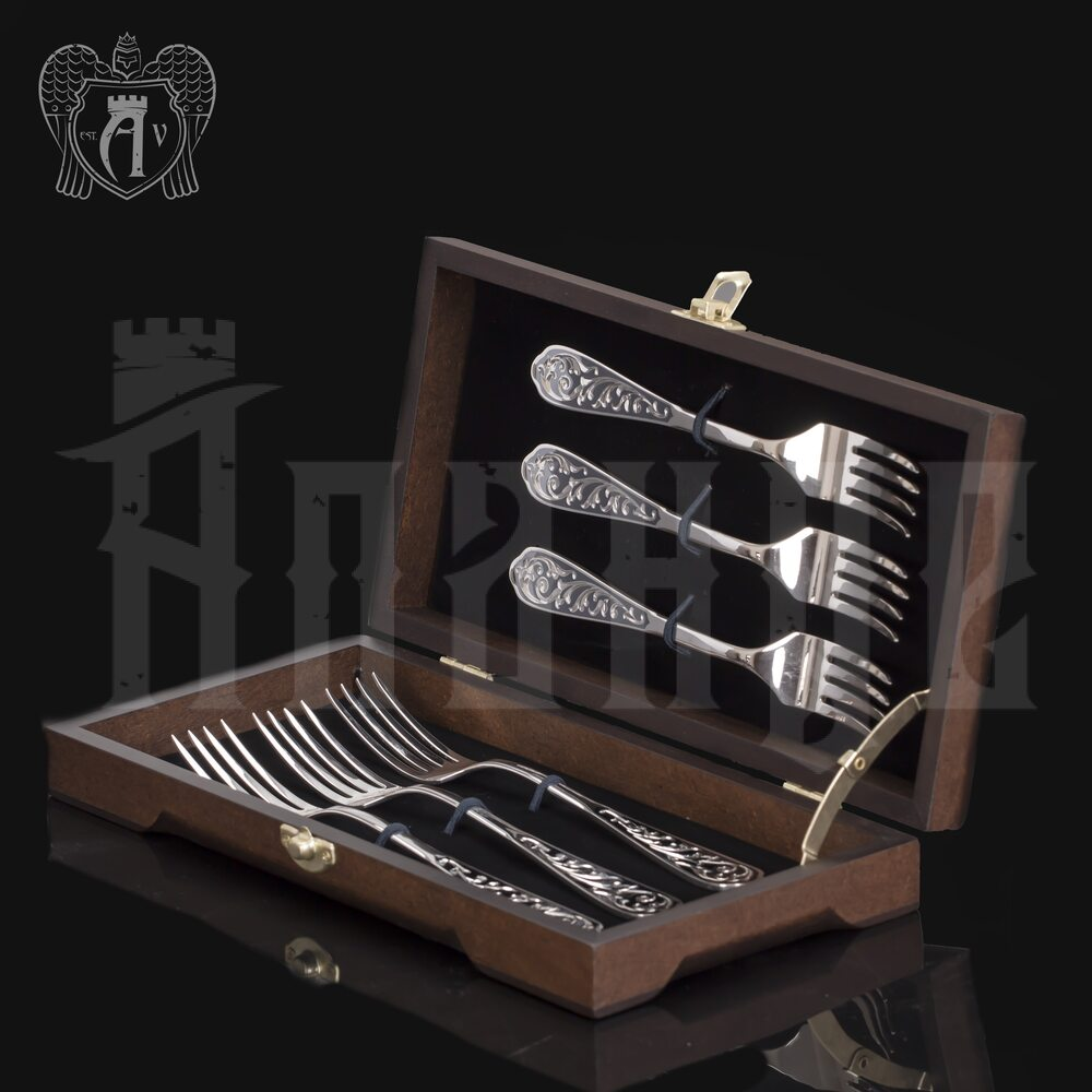 Столовые вилки из серебра 925 пробы «Виноградная лоза» 6 шт Апанде, 290002191