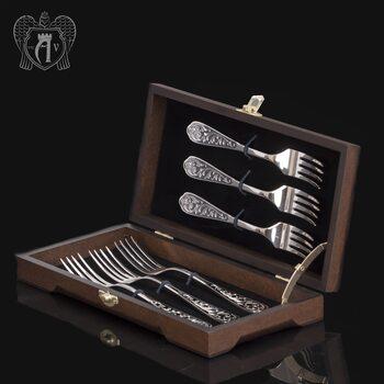 Столовые вилки из серебра 925 пробы «Виноградная лоза» 6 шт
