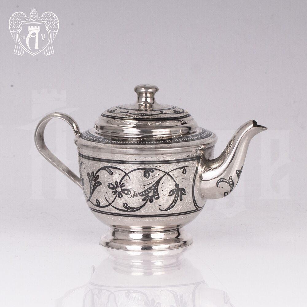 Серебряный чайник «Кубачинский» Апанде, 250007