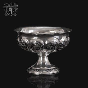 Серебряная ваза для фруктов и сладостей «Мимоза»