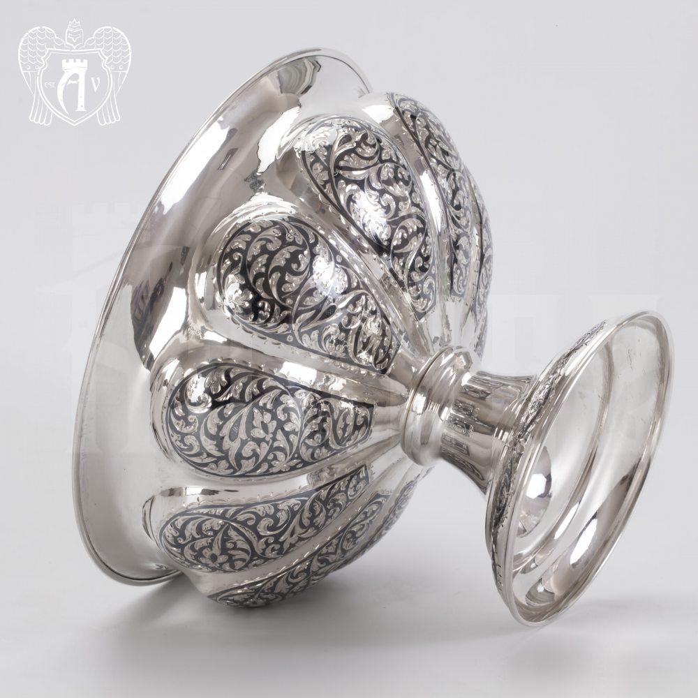 Серебряная ваза для фруктов и сладостей «Мимоза» Апанде, 520007