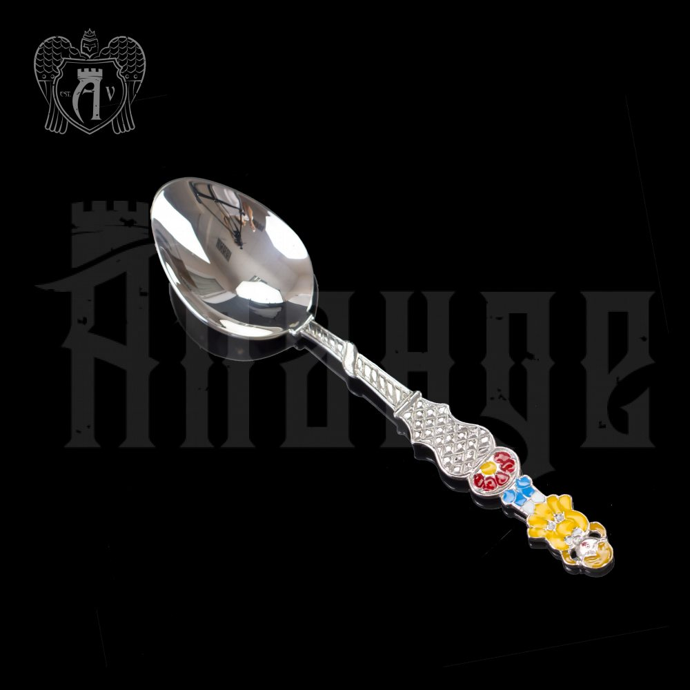 Серебряная чайная ложка с эмалью «Девочка 2» Апанде, 230001229