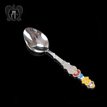 Серебряная чайная ложка с эмалью «Девочка 2»