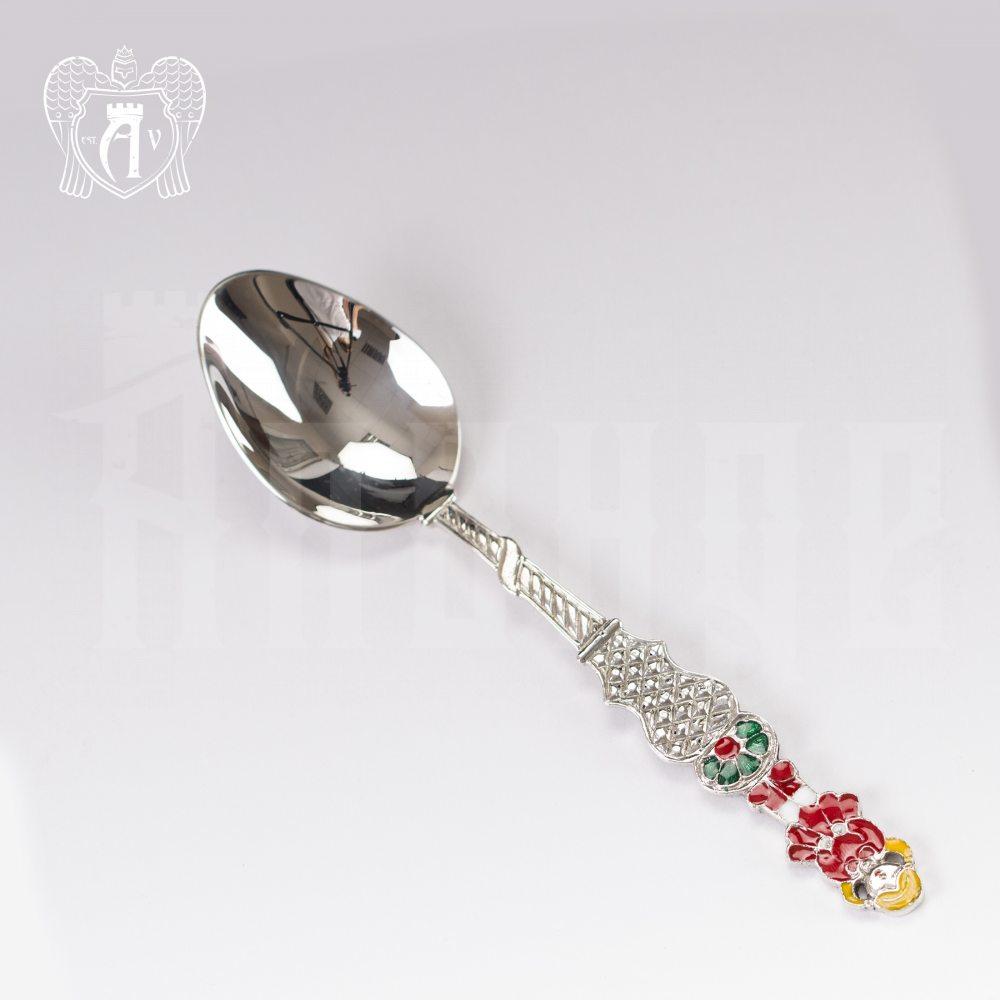 Серебряная чайная ложка с эмалью «Девочка 3» Апанде, 230001230