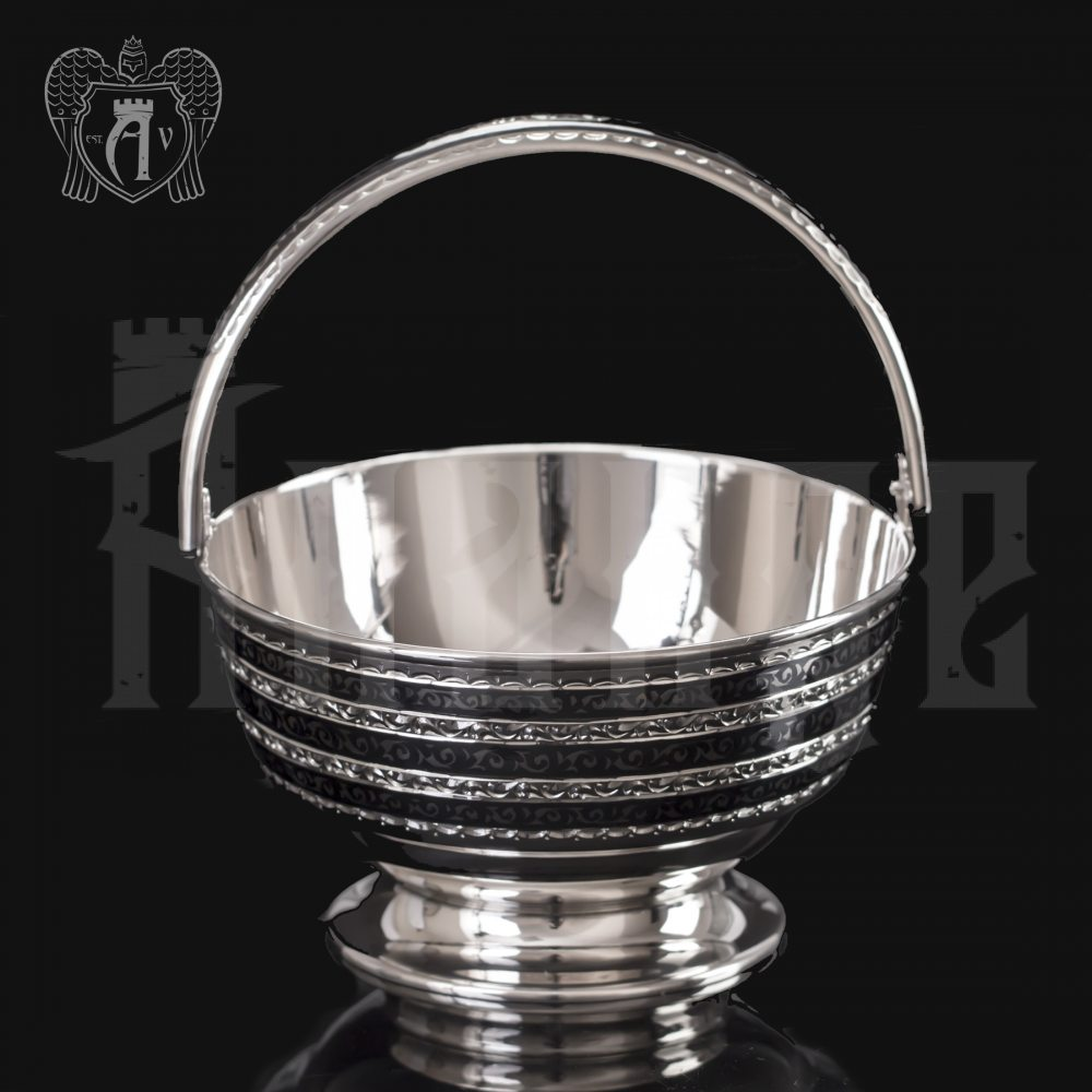Серебряная конфетница « Корзинка» Апанде, 350003147