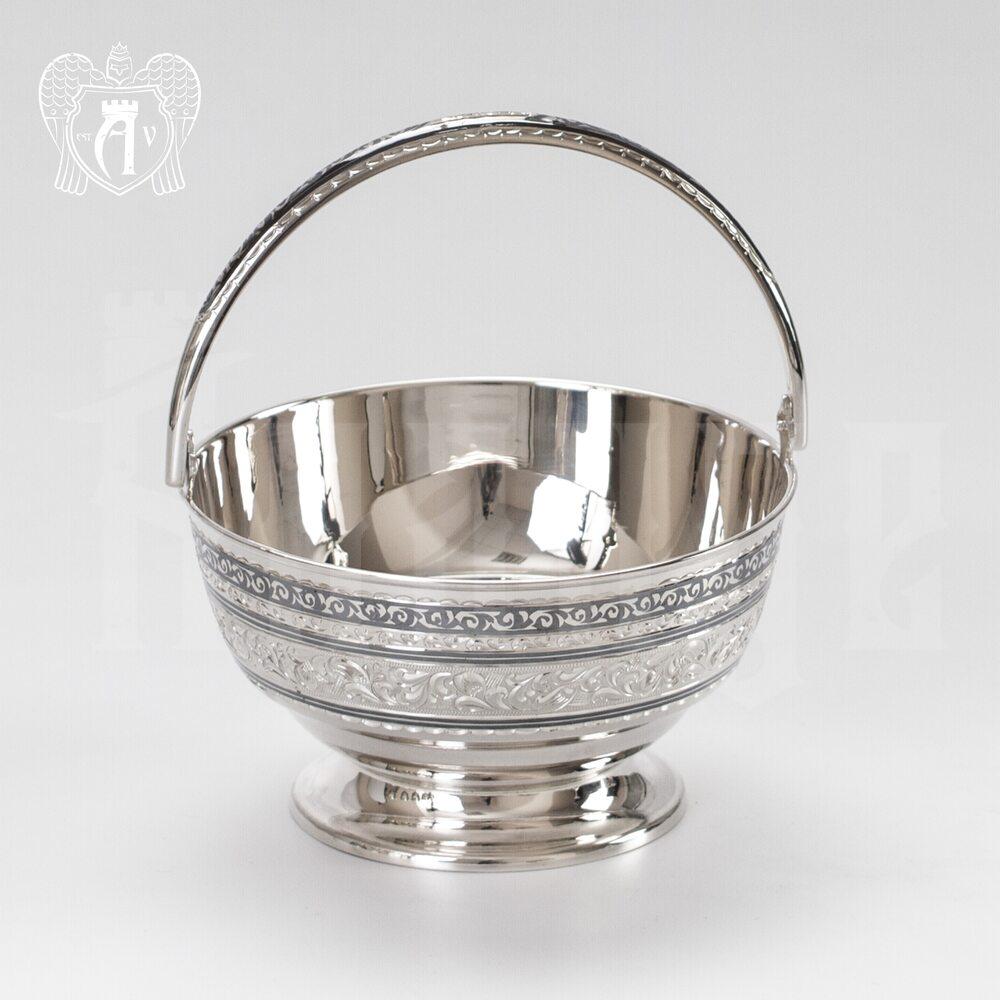 Серебряная конфетница « Лукошко» Апанде, 350003148