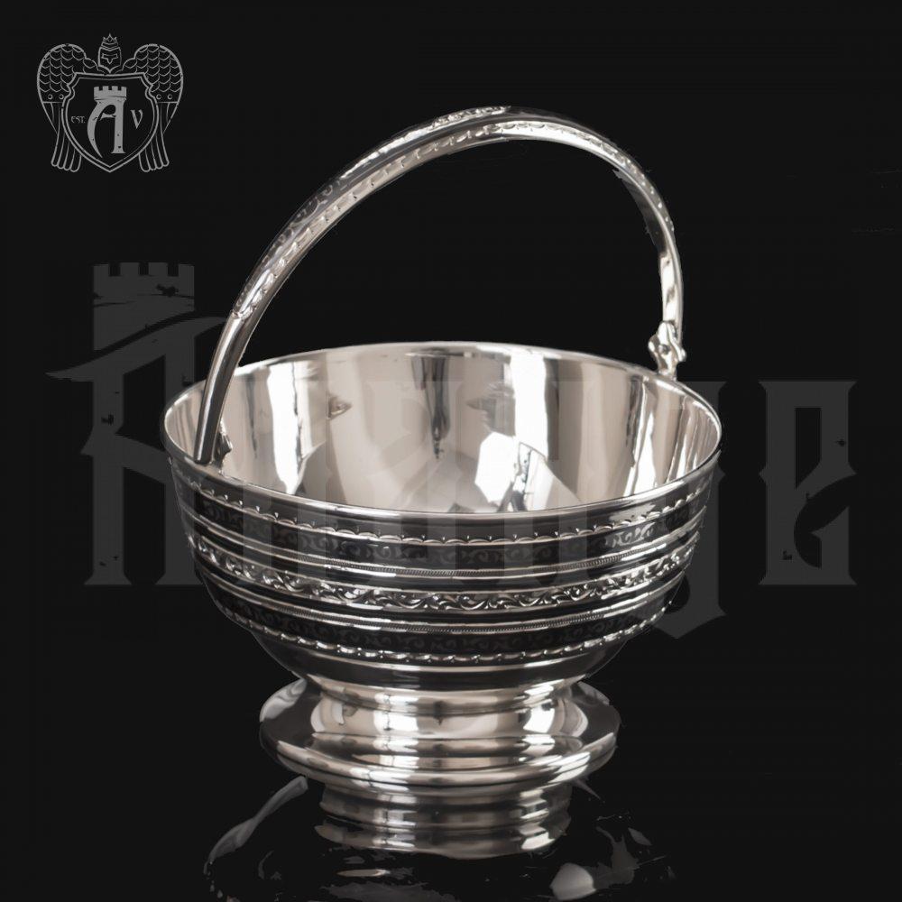Серебряная конфетница « Чаепитие» Апанде, 350003149
