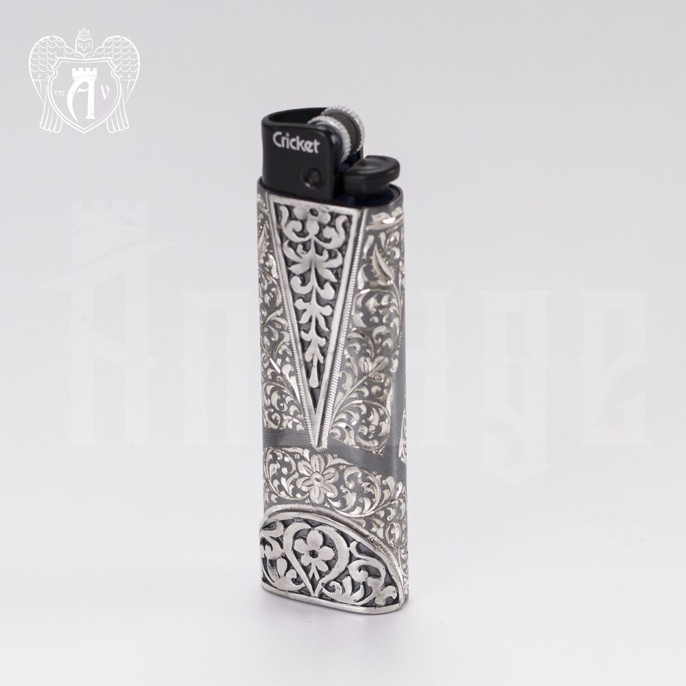 Зажигалка серебряная «Кубачи» Апанде, 550005