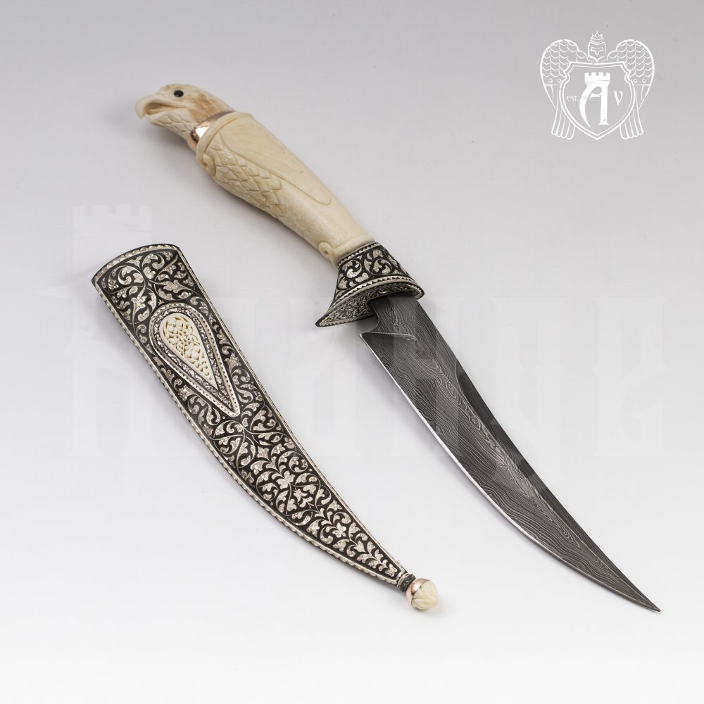 Кинжал из серебра (турецкий ятаган)  «Соколиный глаз» Апанде, 4500055