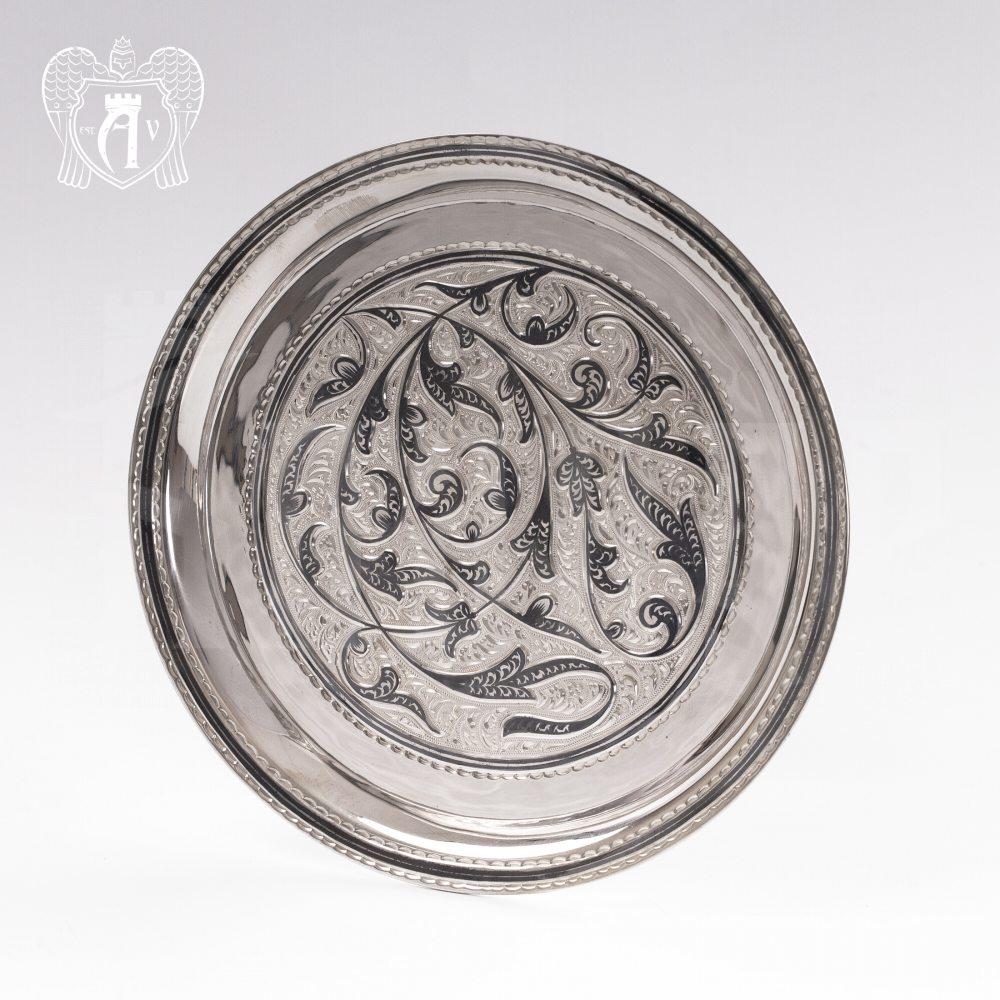 Серебряный круглый поднос «Луна» Апанде, 7700010