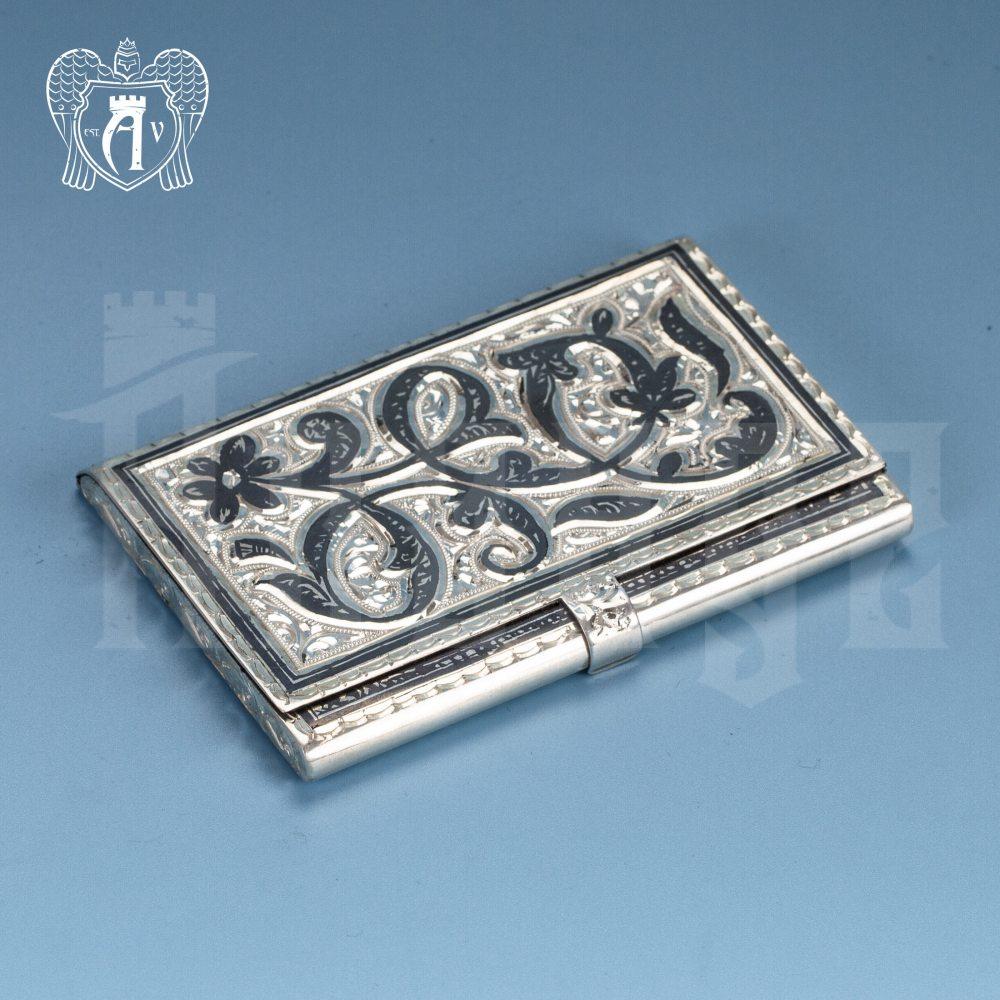 Визитница серебряная «Узор» Апанде, 91003219