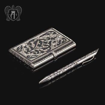 Визитница серебряная и ручка «Традиция»