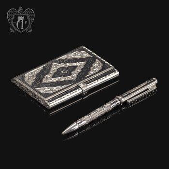 Визитница серебряная и ручка «Бизнесмен»